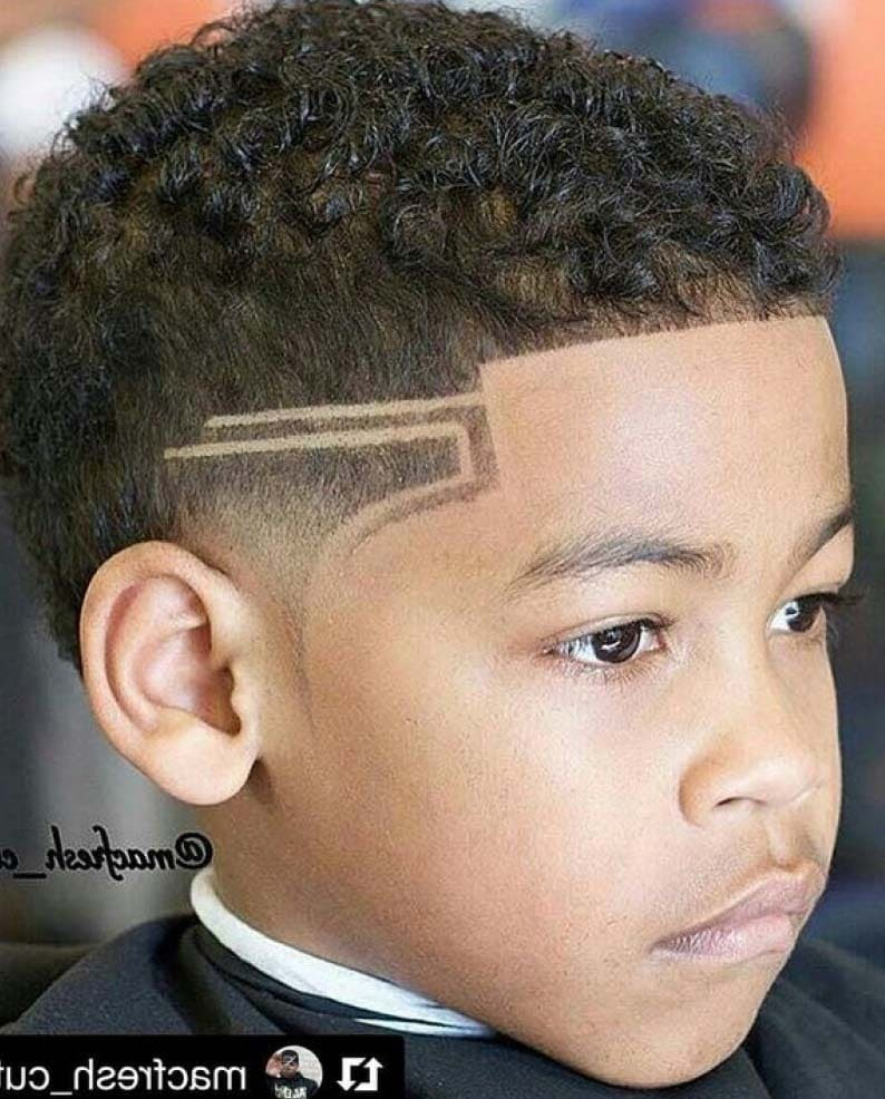 Fade Haircut For Black Boys With Design 13