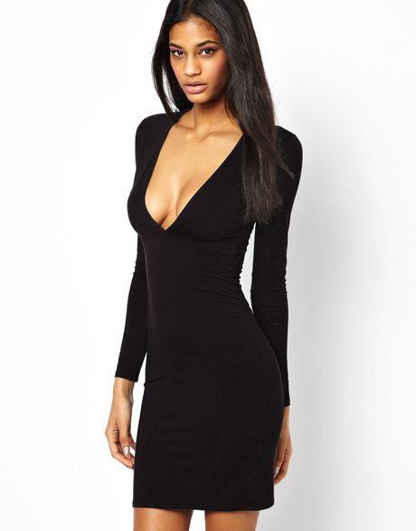 Size sleeve plunge black dress long bodycon walmart