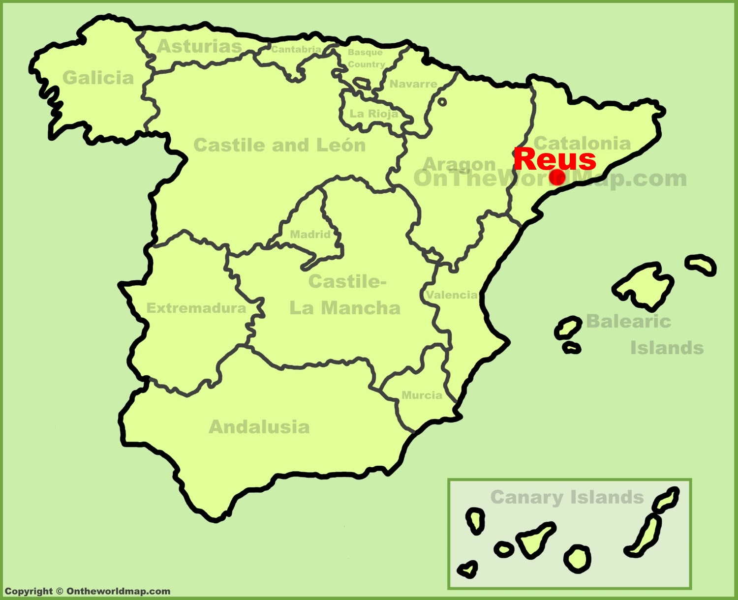 reus location on the spain map