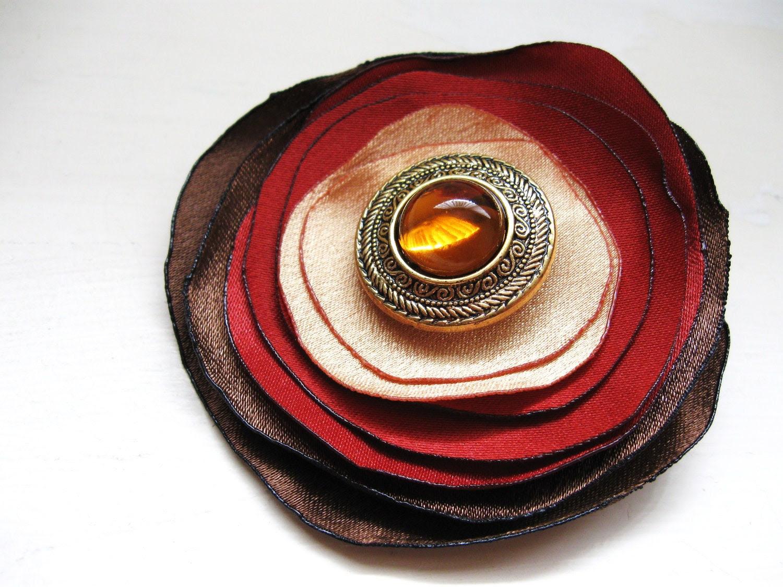 Autumn flower hair clip and brooch