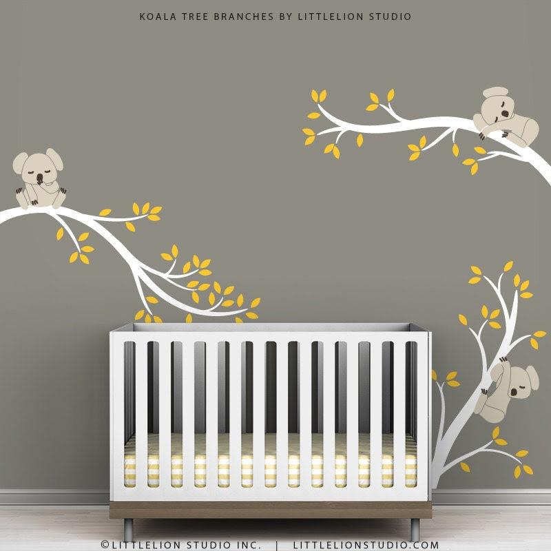 Kids Wall Decals Tree Wall Decor Sticker Beige by TheKoalaStore
