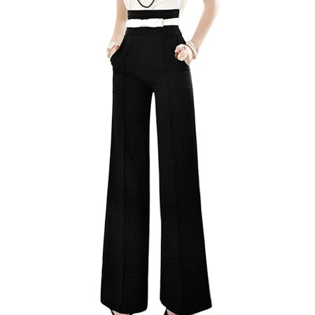 Women's High Waist Zip Fly Side Front Pockets Wide Leg Pants Black (Size XL \/ 16)
