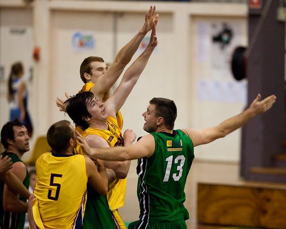 Matthew Roberts, Scott McGregor - QBL Quarter Final Basketball: Gold Coast Rollers v Brisbane Capitals; Carrara, Gold Coast, Queensland, Australia. Photos by Des Thureson:  http://disci.smugmug.com.