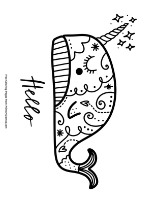 8400 Narwhal Unicorn Coloring Pages Pictures
