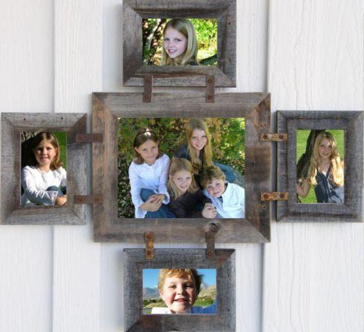 Reclaimed Barnwood Family Collage Frame 1 8 X 10 4 4 X 6 Many