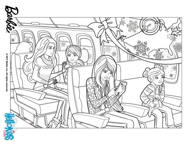 Barbie in the plane coloring pages - Hellokids.com
