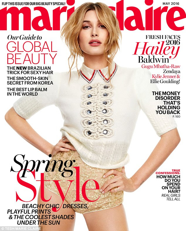 Leaving little to the imagination: Meanwhile Hailey Baldwin sported a pair of gold lace knickers on her cover