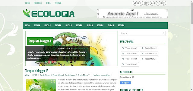 Template Blogger para blog Ecologia natureza