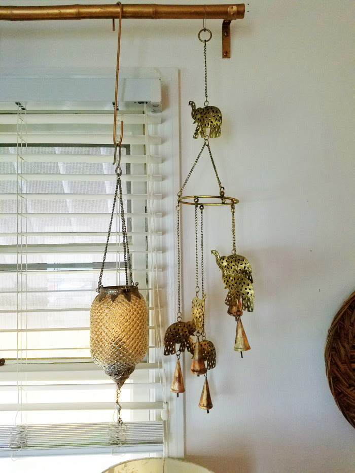 Moroccan inspired lantern and indian elephant windchime for good feng shui
