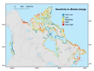 Coastline climate change map