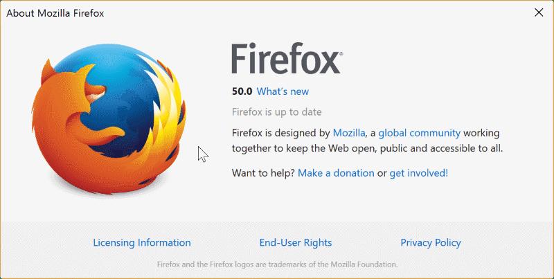 Αποτέλεσμα εικόνας για Mozilla Firefox version 50