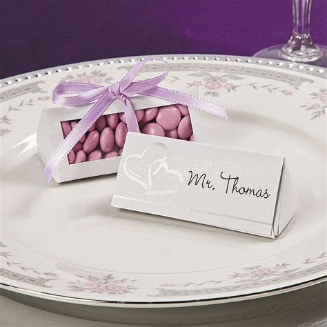 Two Hearts Wedding Place Card Favor Boxes   Oriental Trading
