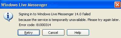 MSN Messenger 8.0 Error Code - 81000314