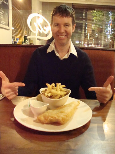 Pete and his very fancy fish and chips