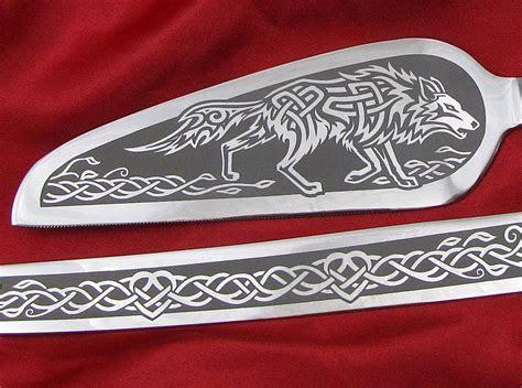Viking Wedding Cake Server and Knife Set, Personalized