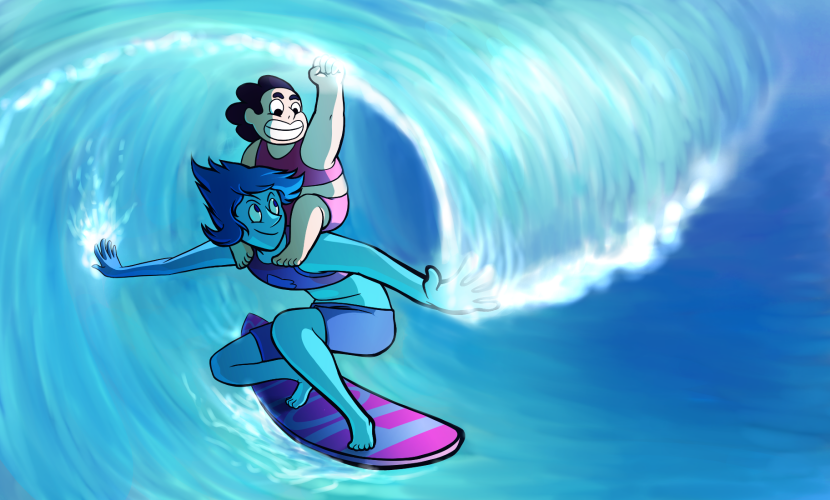 """Anonymous said: i wasn't going to send anything in and you absolutely don't have to do this if you don't want to but what about steven and lapis and ocean / beach? (but not too far out in the ocean..."
