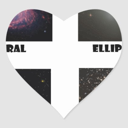 types of Galaxies3 Heart Sticker