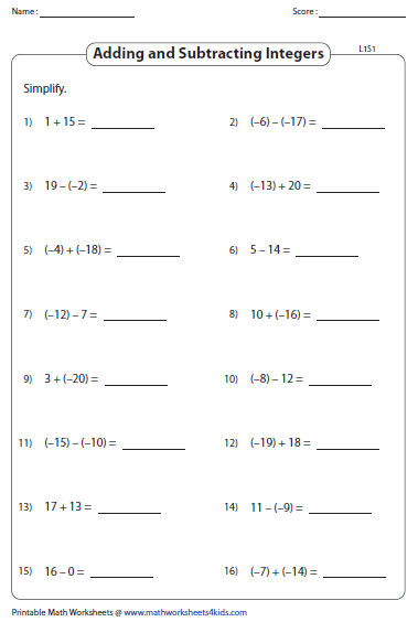 Addition And Subtraction Of Integers Word Problems Worksheets  multiplying integers worksheet