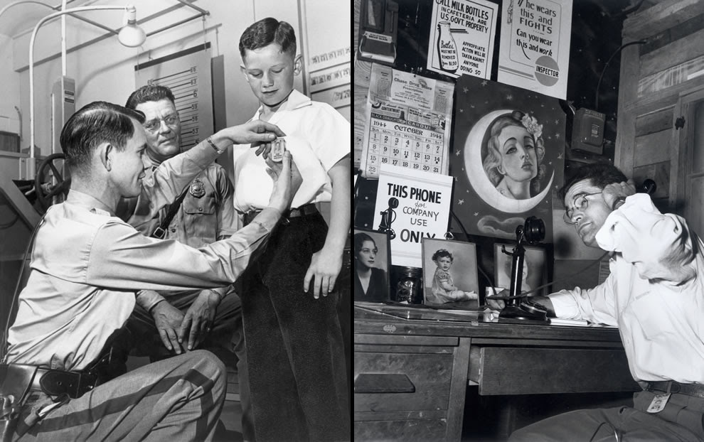 Security and secrecy conscious in 1944 as little boy gets a security badge & man on a phone