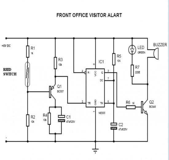 door security alarm using ic 555