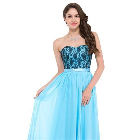 Cheap Floor length Corset Appliques Blue Long Bridesmaid