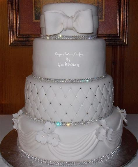 Crystal & White Wedding Cake   CakeCentral.com