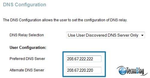 Configurando a OpenDNS no modem D-Link G624T