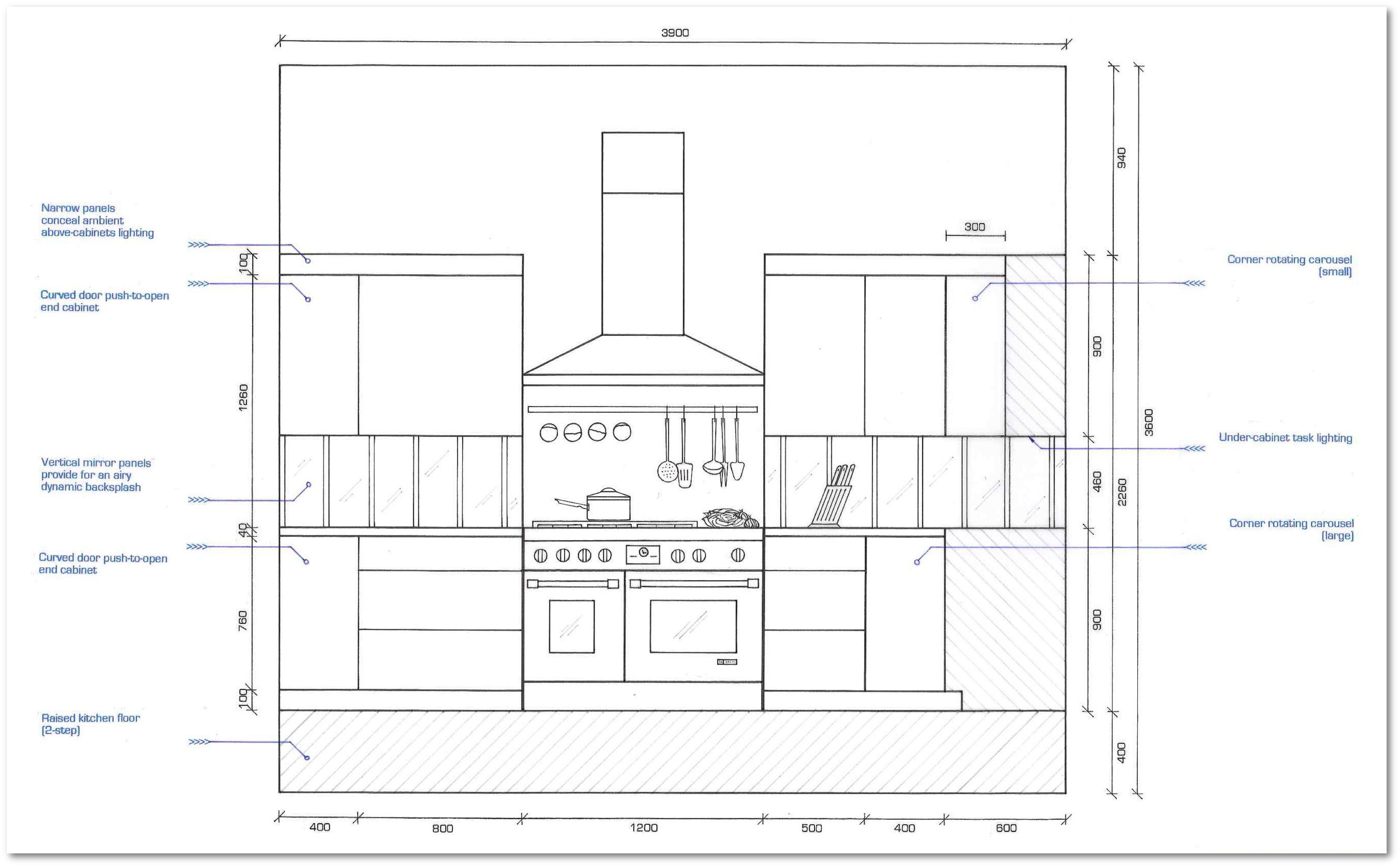 Loft Apartment Kitchen Elevations Section
