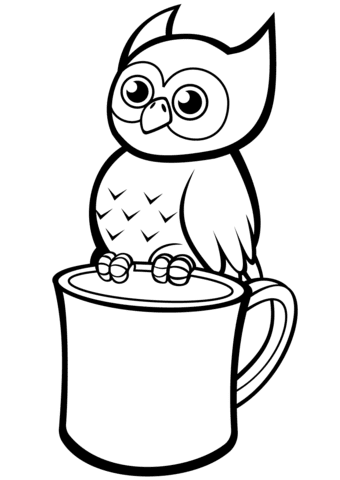 cute owl on a mug coloring page  free printable coloring