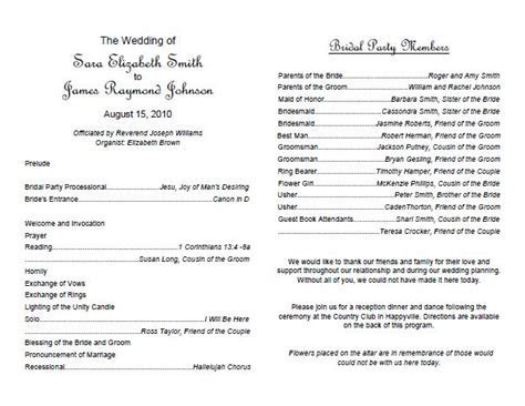 Traditional wedding program template   Weddings   Pinterest
