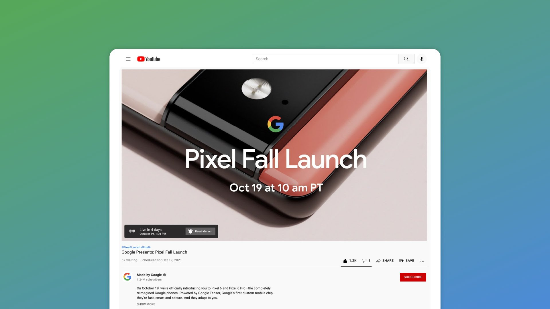 Google's Pixel Fall Launch live stream is already up on YouTube if you know where to look