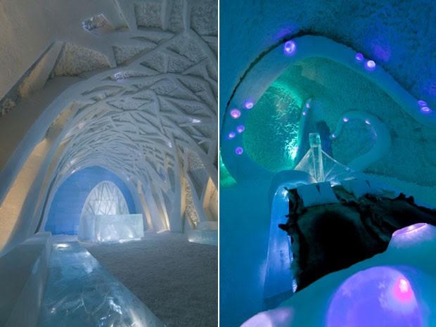 Montagem com fotos do Ice Hotel, na Suécia (Foto: Armstrong Ruane e Undli Eriksen/Photobigben )
