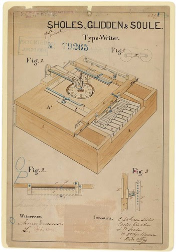 Drawing for a Typewriter, 06/23/1868, Page 1/2