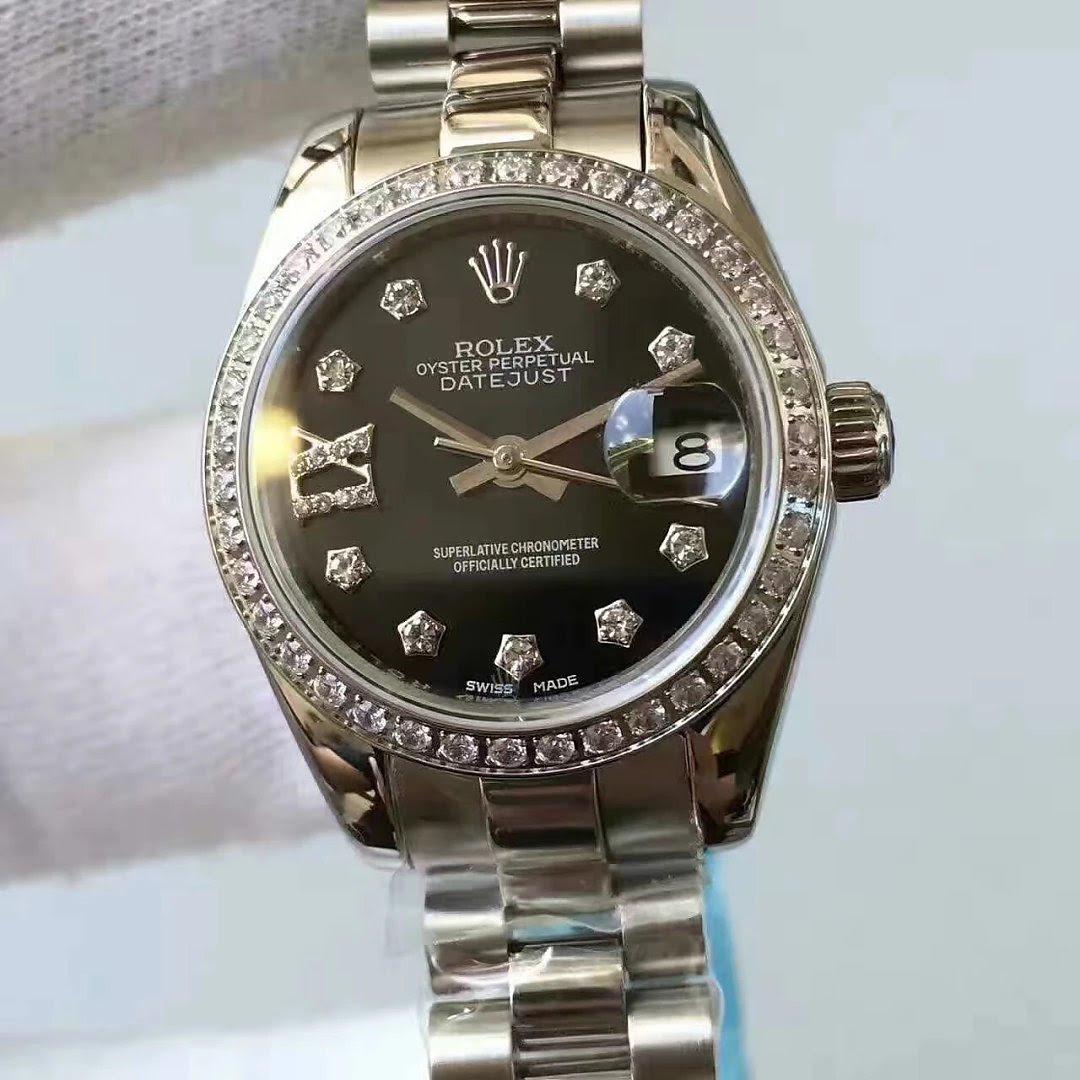 Replica Rolex Lady Datejust 33mm Black Dial