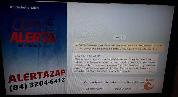 João Câmara: Paciente denuncia Hospital Regional Josefa Alves Godeiro no programa Cidade Alerta da TV Tropical.