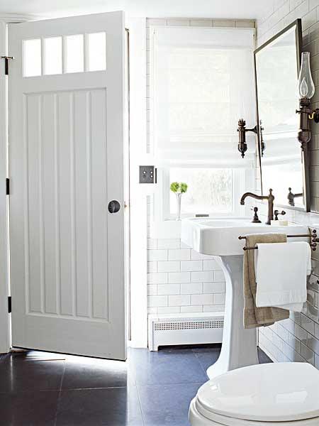 white pedestal sink door with window bathroom