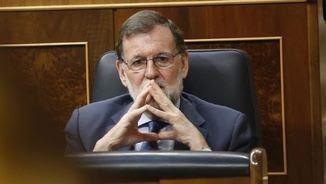 Mariano Rajoy, aquest dimecres, al seu escó al Congrés (EFE)
