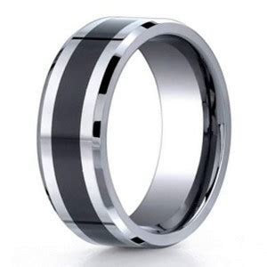 Men's Cobalt Chrome Wedding Band With Black Ceramic Inlay, 7mm