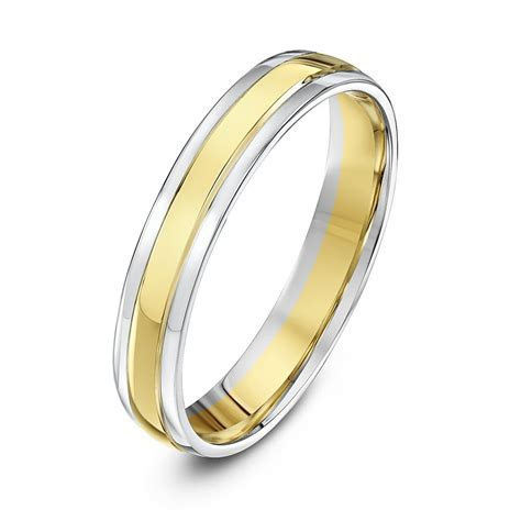 9kt White & Yellow Gold Court 4mm Wedding Ring