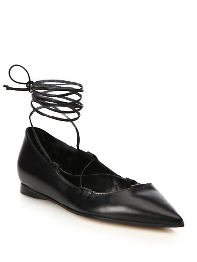 Michael Kors Kallie Lace-Up Leather Flats