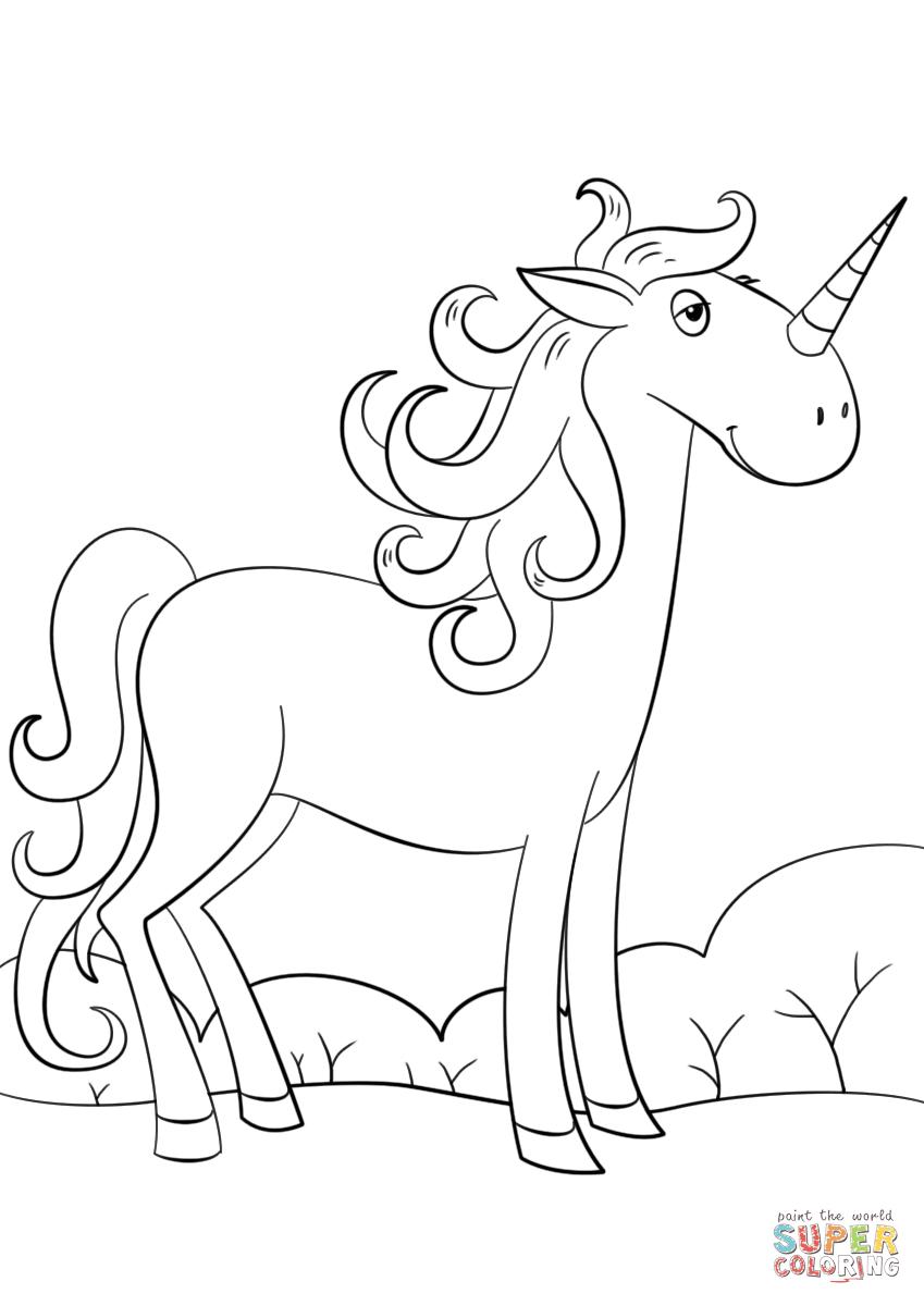Cute Cartoon Unicorn coloring page | Free Printable ...