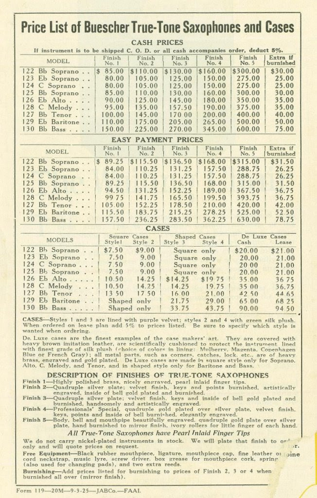 Buescher saxophone prices and options - 1920's