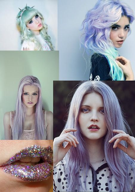 ♥ #purple #blue #lips #hair #glitter #sparkle