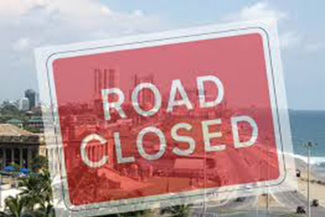Galle face road closed due to protest