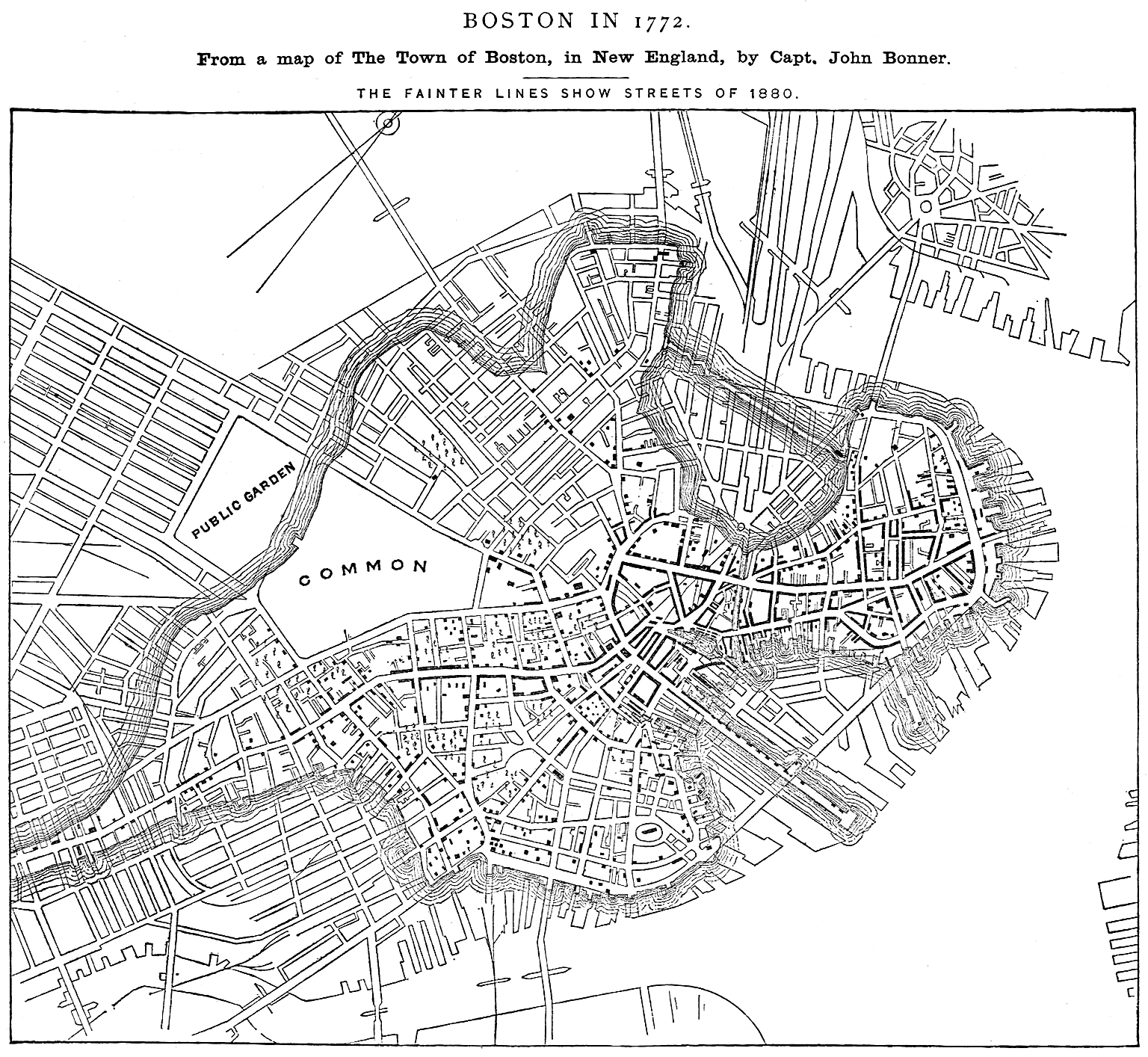 Boston in 1772, compared with Boston in 1880