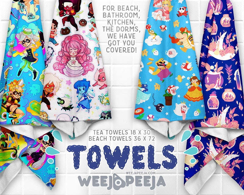 For the beach, bathroom, kitchen, at dorms? WE GOT YOU COVERED! Covered in some of the softest, brightest, most creative towels out there! Towels shown feature the amazing artwork of Shy Custis & Maya...