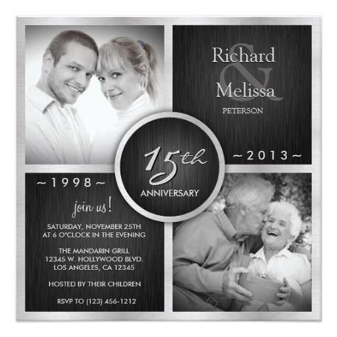 Elegant Black and Silver 15th Wedding Anniversary