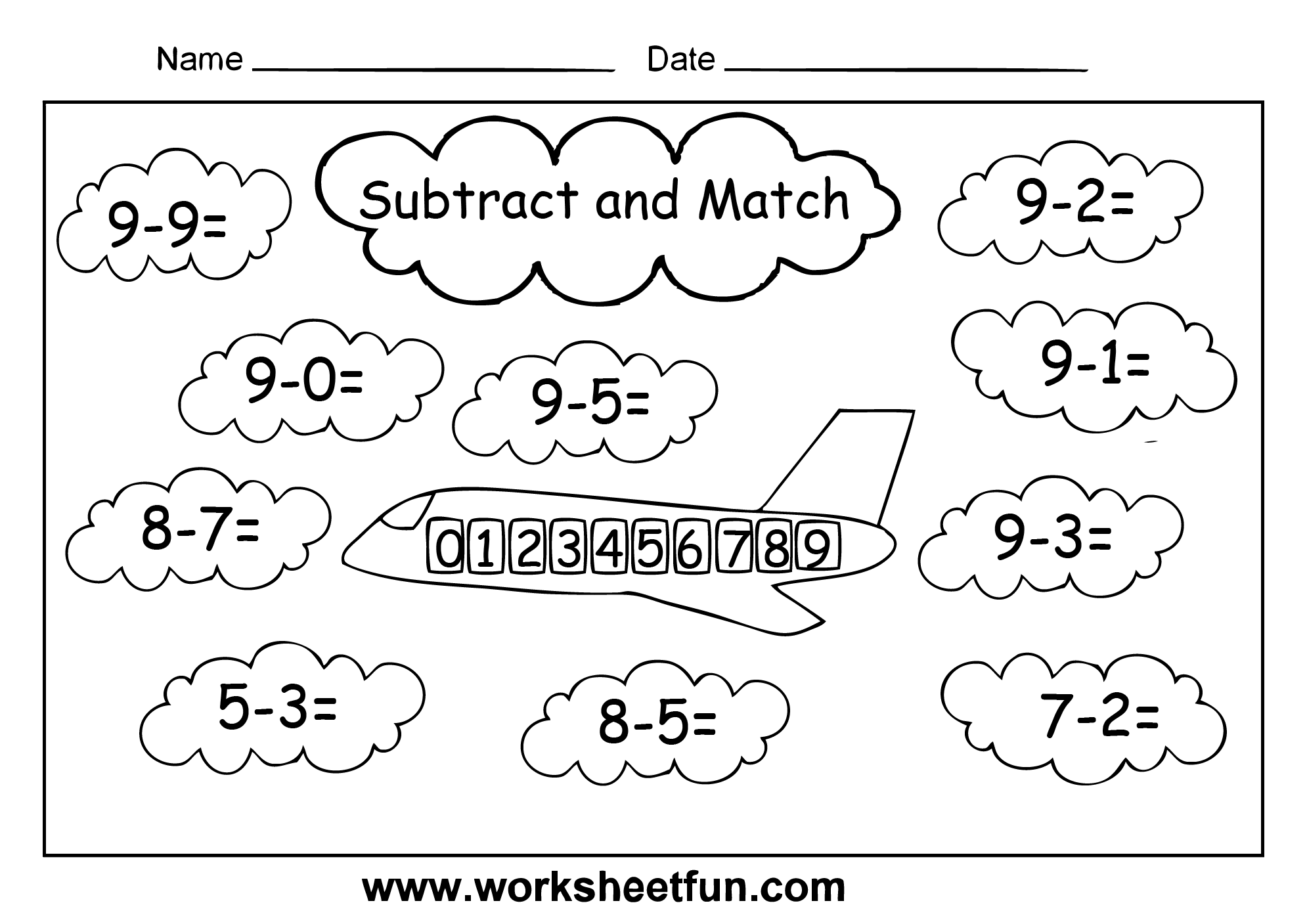 aeroplane cloud subtract and match 1