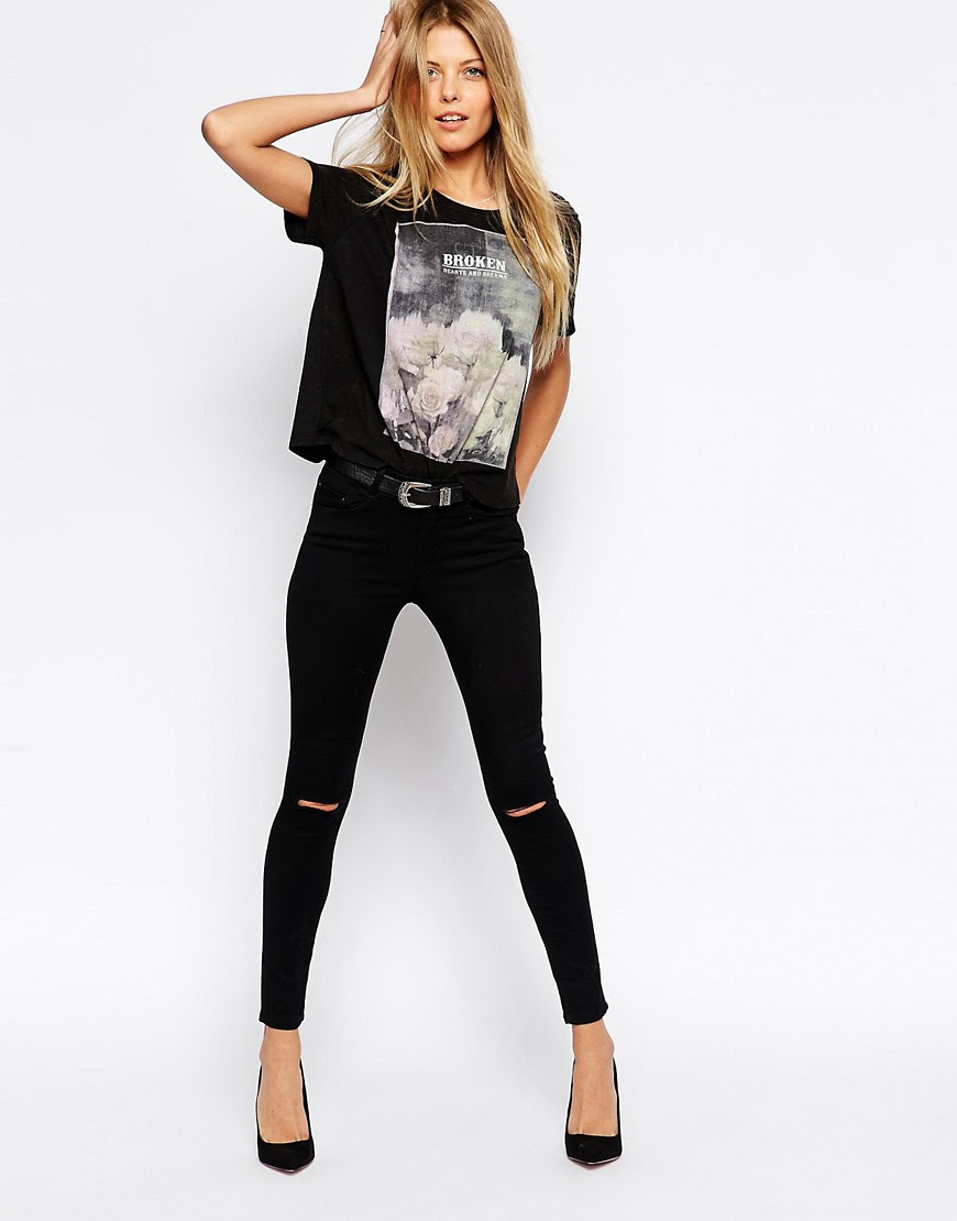 Image 4 ofASOS PETITE Ridley Skinny Ankle Grazer In Clean Black With Ripped Knees