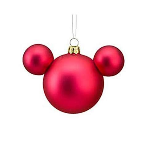 Disney Christmas Ornament   Mickey Mouse Ears Ball   Red Satin